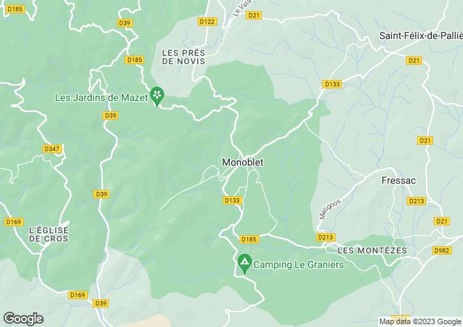 Map for Languedoc-Roussillon, Gard, Monoblet