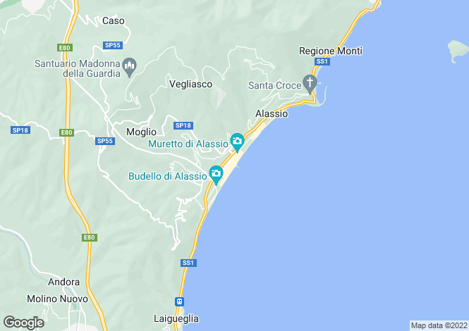Map for Alassio, Liguria, Italy