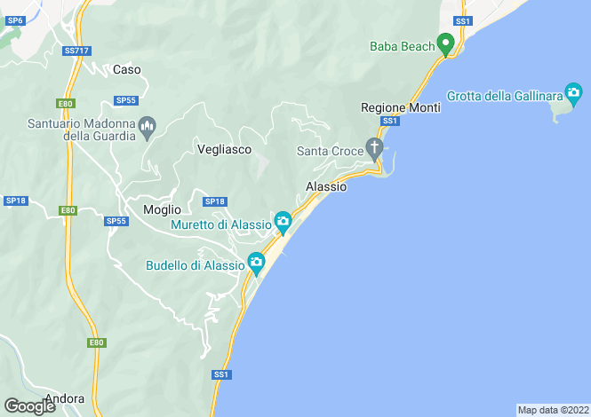 Map for Liguria, Savona, Alassio