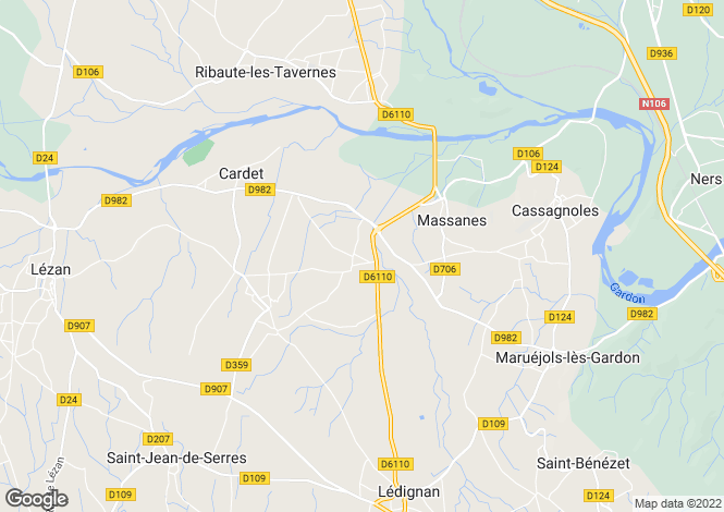Map for massanes, Gard, France