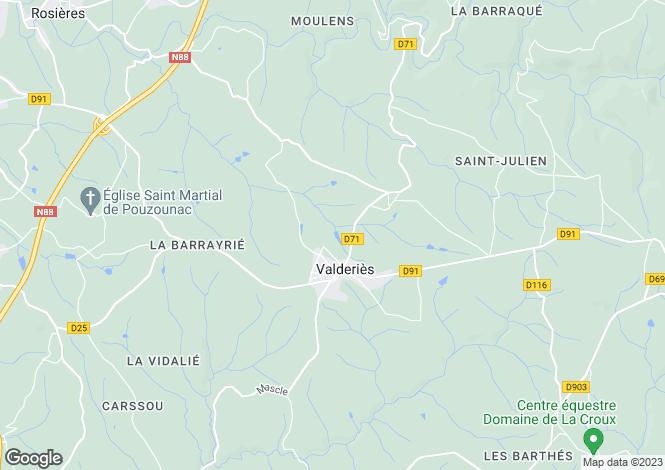 Map for Midi-Pyrénées, Tarn, Valderiès