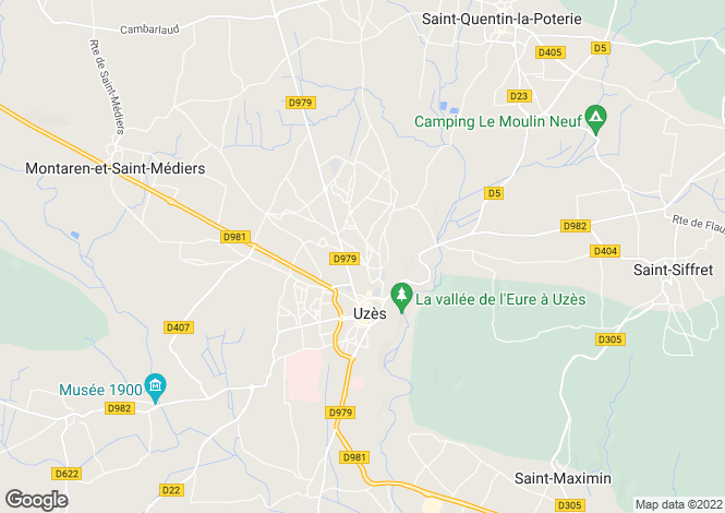 Map for Languedoc-Roussillon, Gard, Uzès