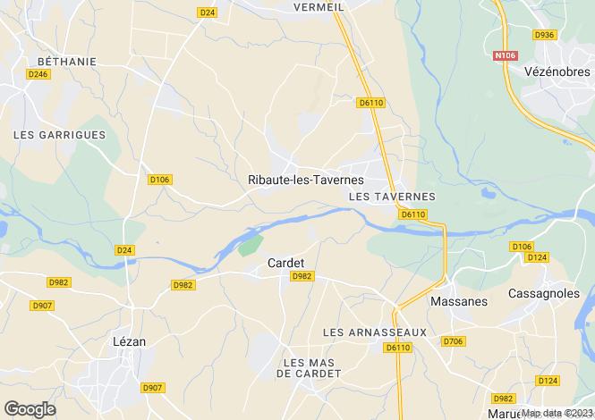 Map for Languedoc-Roussillon, Gard, Ribaute-les-Tavernes