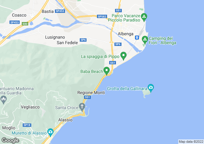 Map for Alassio, Savona, Liguria