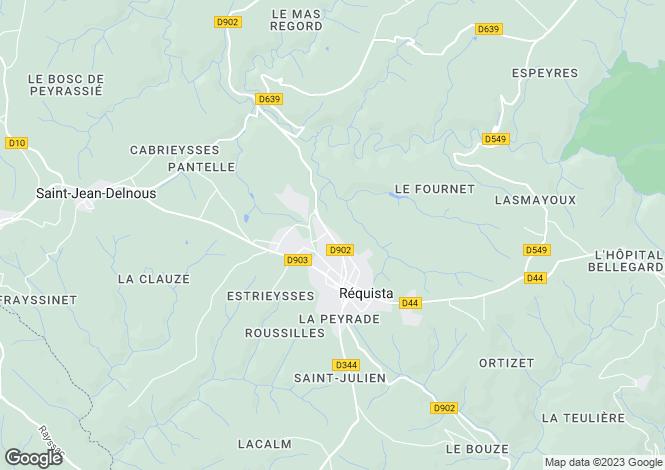 Map for Midi-Pyrenees, Aveyron, Réquista