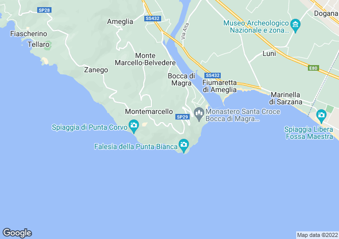 Map for Liguria, La Spezia, Ameglia