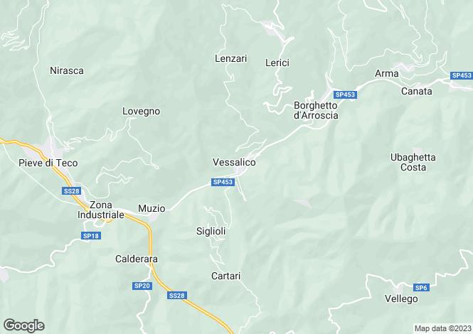 Map for Liguria, Imperia, Vessalico