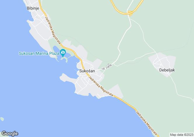 Map for Sukosan, Zadar