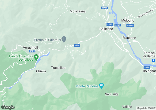 Map for Gallicano, Lucca, Tuscany