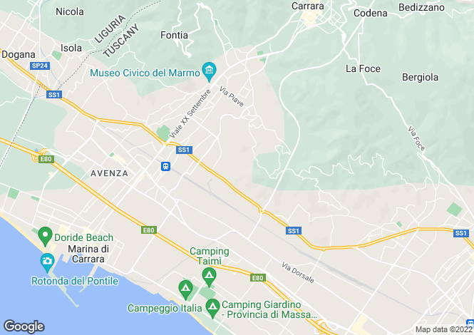 Map for Tuscany, Lunigiana, Carrara