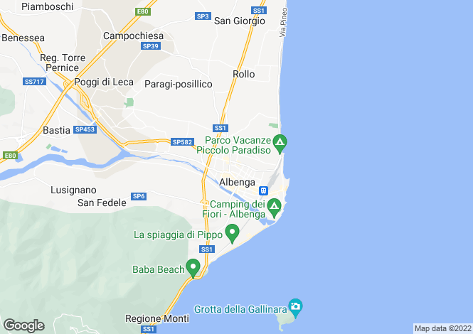 Map for Liguria, Savona, Albenga