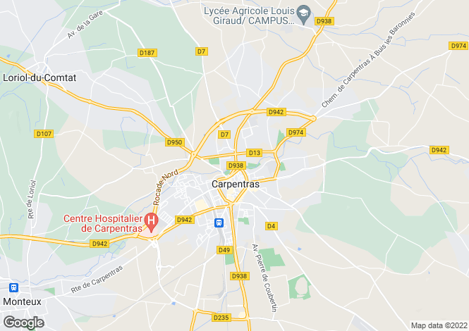 Map for carpentras, Vaucluse, France