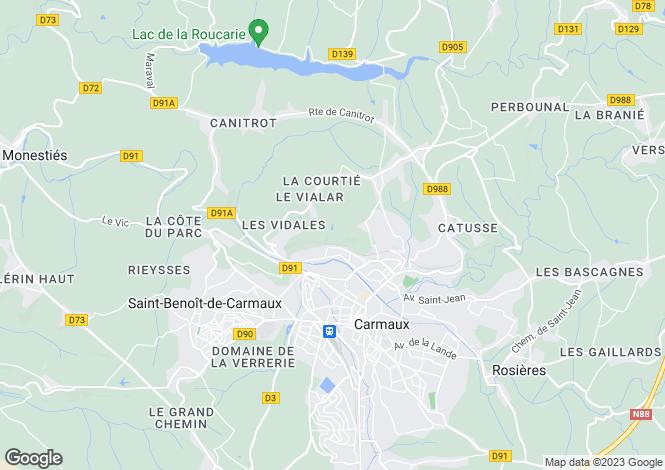 Map for Midi-Pyrénées, Tarn, Carmaux