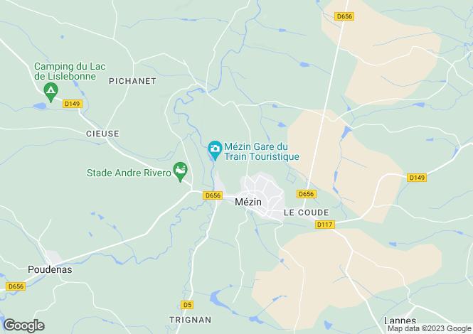 Map for Aquitaine, Lot-et-Garonne, Mézin