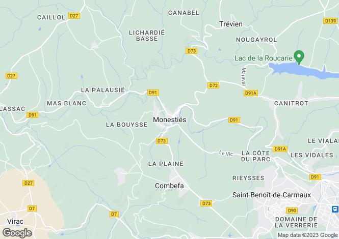 Map for Proche/Near Monesties, Tarn