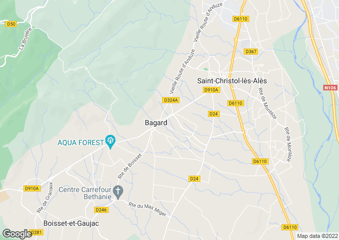 Map for bagard, Gard, France