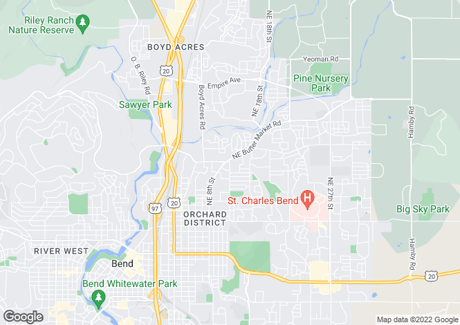 Map for Oregon, Deschutes County, Bend