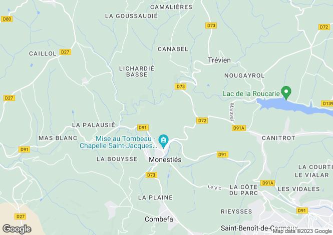 Map for Midi-Pyrénées, Tarn, Monestiés