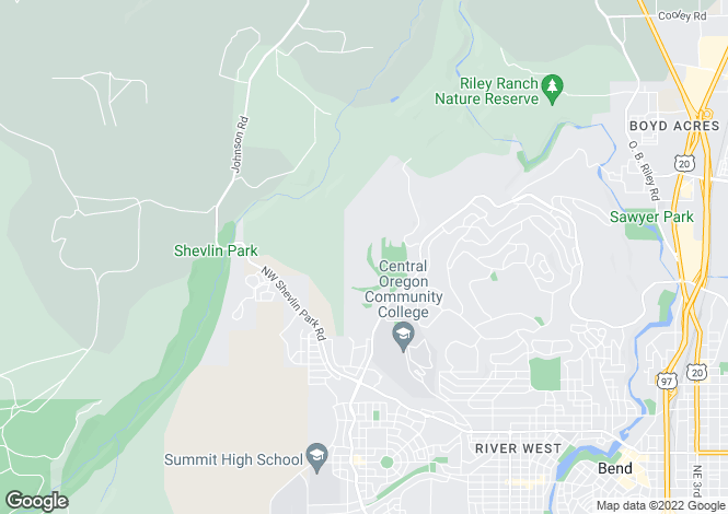 Map for Oregon, Deschutes County, Bend