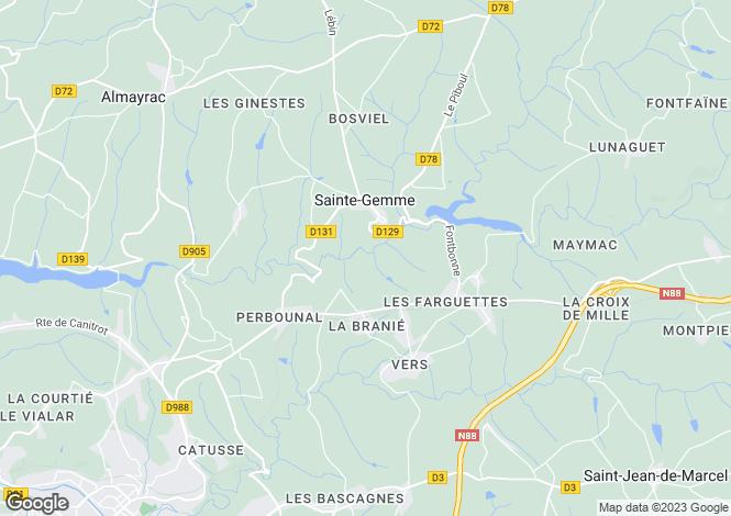 Map for Midi-Pyrenees, Tarn, Sainte-Gemme