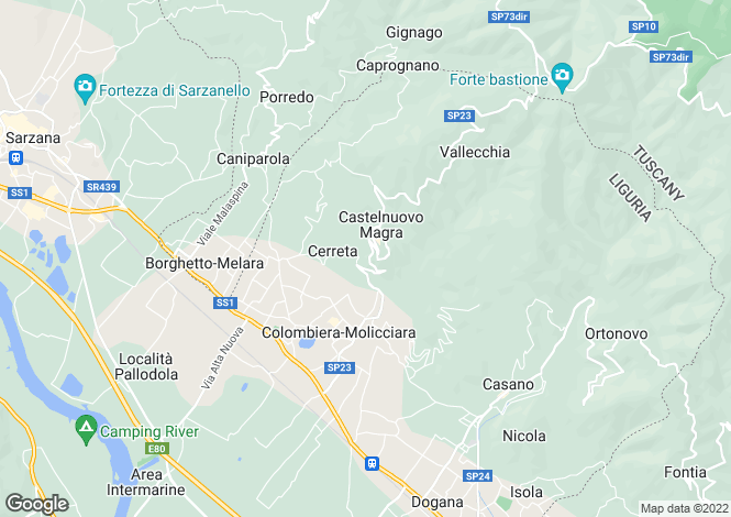 Map for Liguria, La Spezia, Castelnuovo di Magra