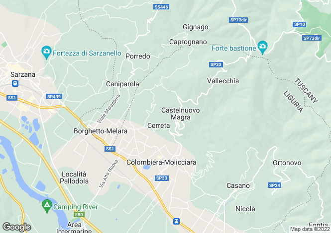 Map for Castelnuovo Magra, La Spezia, Italy