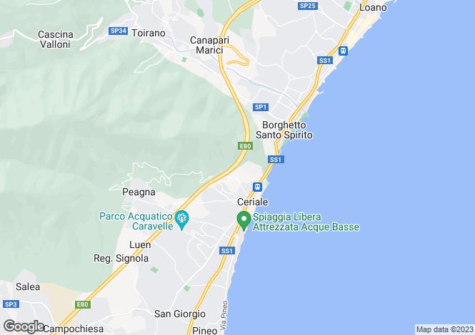 Map for Ceriale, Savona, Liguria