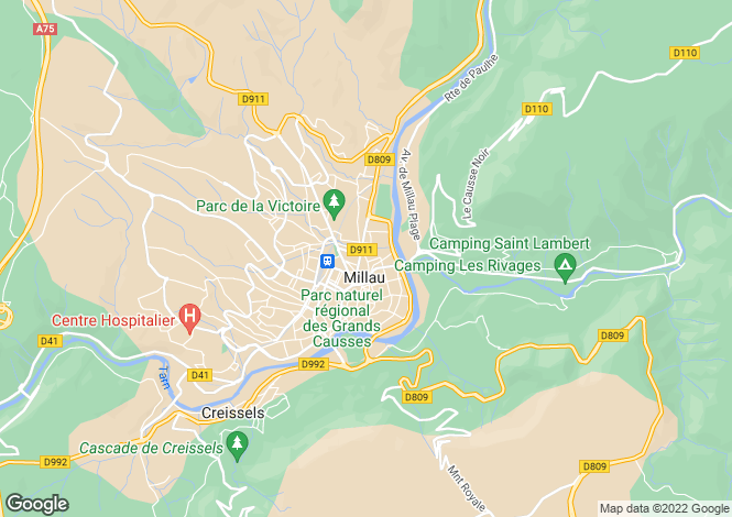 Map for MILLAU, Montpellier Area, Languedoc,
