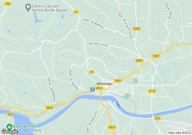 Map for moissac, Tarn-et-Garonne, France