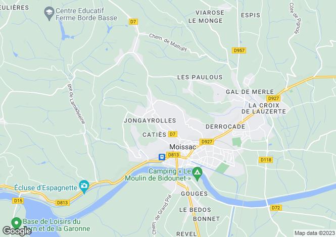 Map for Midi-Pyrénées, Tarn-et-Garonne, Moissac