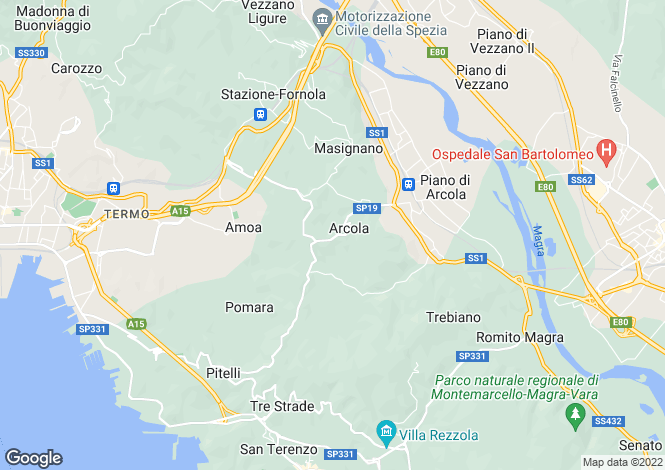 Map for Liguria, La Spezia, Arcola