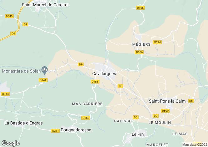 Map for Languedoc-Roussillon, Gard, Cavillargues
