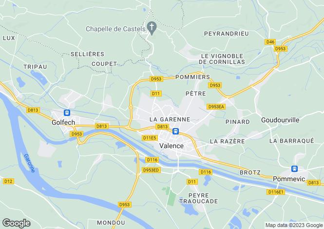 Map for valence, Tarn-et-Garonne, France