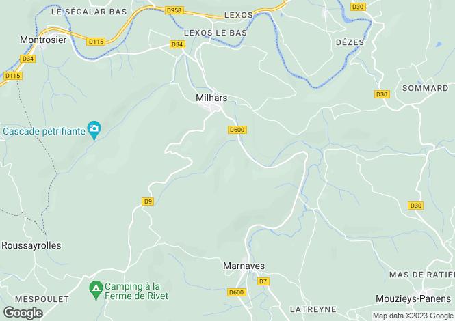 Map for milhars, Tarn, France