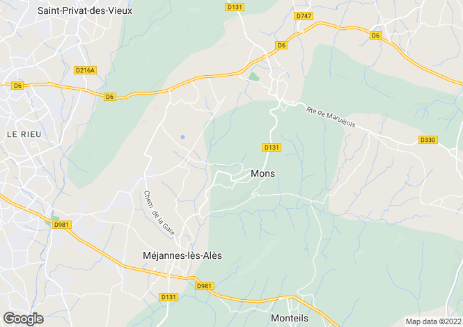 Map for Languedoc-Roussillon, Gard, Mons