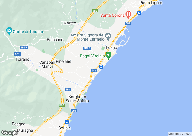 Map for Loano, Savona, Liguria