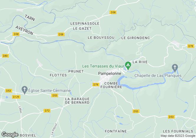 Map for Midi-Pyrénées, Tarn, Pampelonne