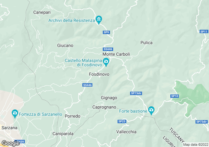 Map for Fosdinovo, Lunigiana, Tuscany
