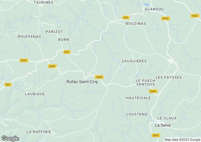 Map for Midi-Pyrenees, Aveyron, Rullac-Saint-Cirq