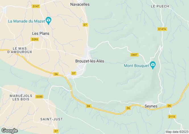 Map for brouzet-les-ales, Gard, France