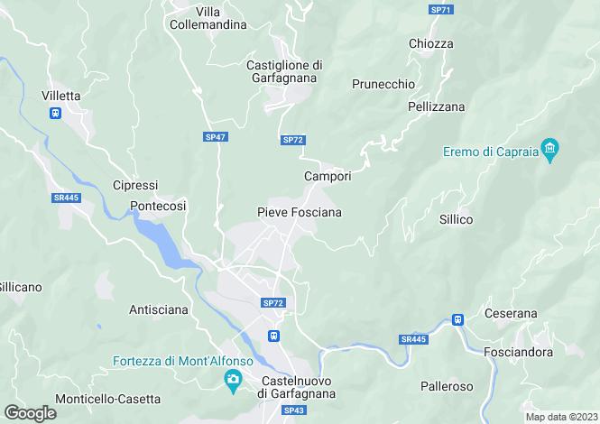 Map for Pieve Fosciana, Tuscany, Italy