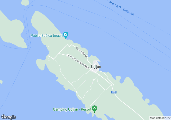 Map for Ugljan, Zadar