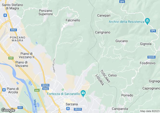 Map for Sarzana, La Spezia, Liguria