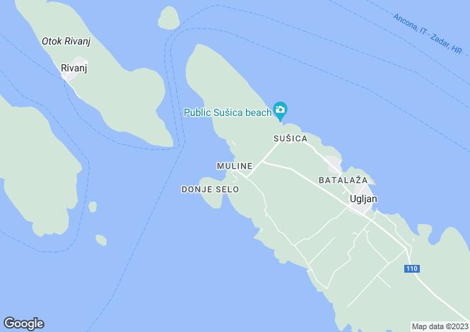 Map for Zadar-Knin, Ugljan, Croatia
