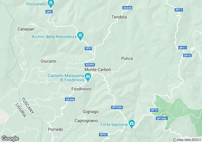 Map for Fosdinovo, Lunigiana, Italy