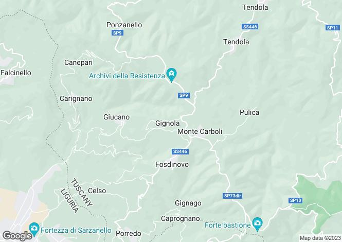 Map for Fosdinovo, Lunigiana, Italy