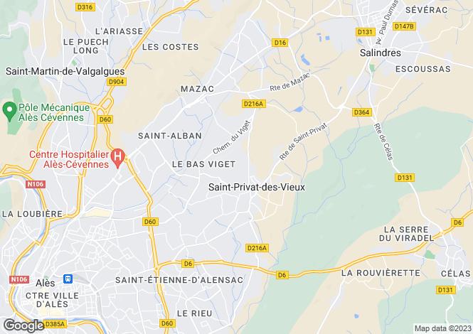 Map for St-Privat-des-Vieux, Gard, Languedoc-Roussillon