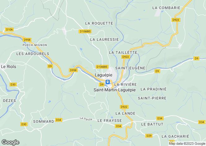 Map for Midi-Pyrénées, Tarn-et-Garonne, Laguépie