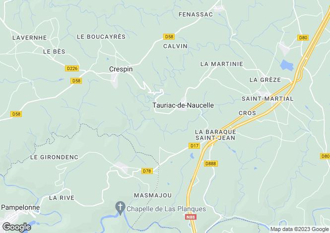 Map for Midi-Pyrenees, Aveyron, Tauriac-de-Naucelle