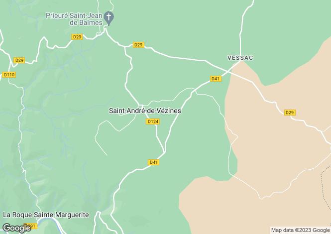 Map for Midi-Pyrenees, Aveyron, Saint-André-de-Vézines